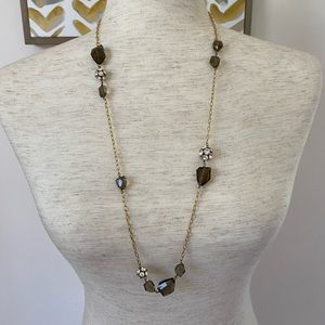 J Crew long chain necklace with smoky grey stones